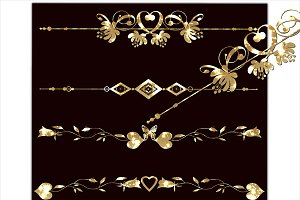 Gold set clipart borders.