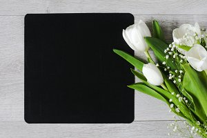 Bouquet of flowers and chalkboard