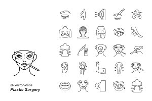 Plastic surgery outlines vector icon