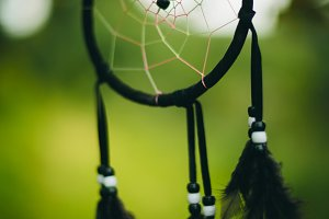 Black dream catcher on green