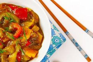 Delicious eggplant stew with tomato