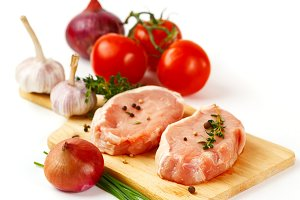 Fresh raw pork meat steaks