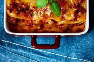Italian Food. Hot tasty Lasagna.