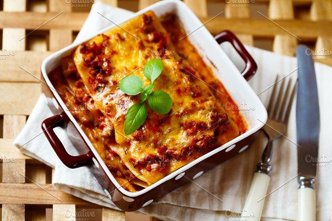 Italian Food. Hot tasty Lasagna. - Food & Drink