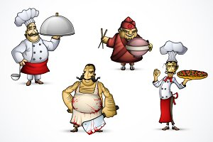 Set of Four Different Chefs