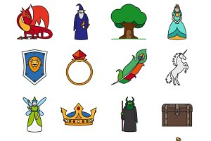 Fairy Tale Thin Line Icons