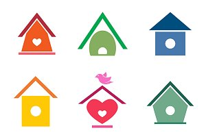 Vector group of bird houses