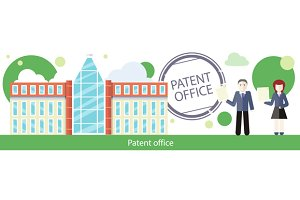 Patent Office Concept in Flat Design