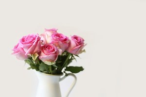 Pink Roses in White Pitcher