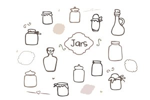 Hand Drawn Jars Vector Set