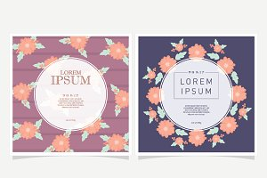 Vintage Floral background with label