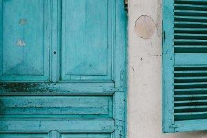texture on old blue doors