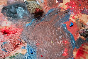 Brush and oil paint shot closeup