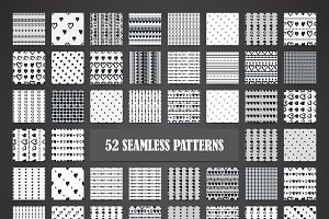 Seamless hearts 52 patterns