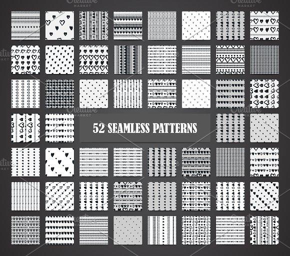 Seamless hearts 52 patterns