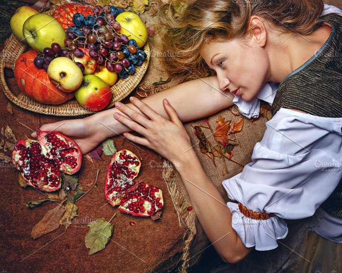 Peasant Woman. Vegetables and fruits - Food & Drink