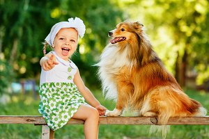 Little girl and dog sheltie
