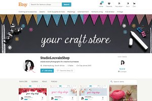 Etsy shop banner - glitter bunting