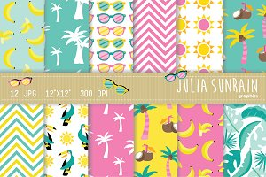Summer Tropical Digital Paper Set