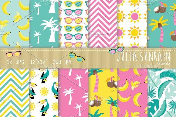 Summer Tropical Digital Paper Set