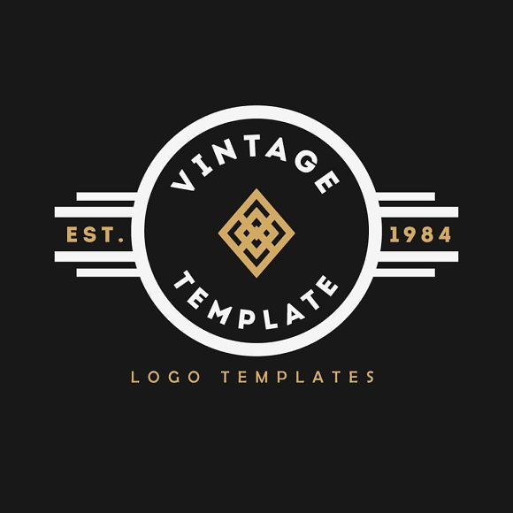 vintage logo templates 1 logo templates on creative market. Black Bedroom Furniture Sets. Home Design Ideas