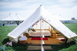 A photo of a hipster tent, holidays