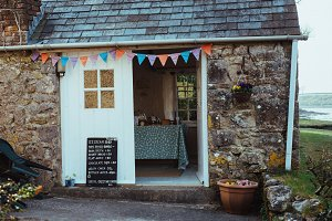 A photo of a cozy house, tearoom