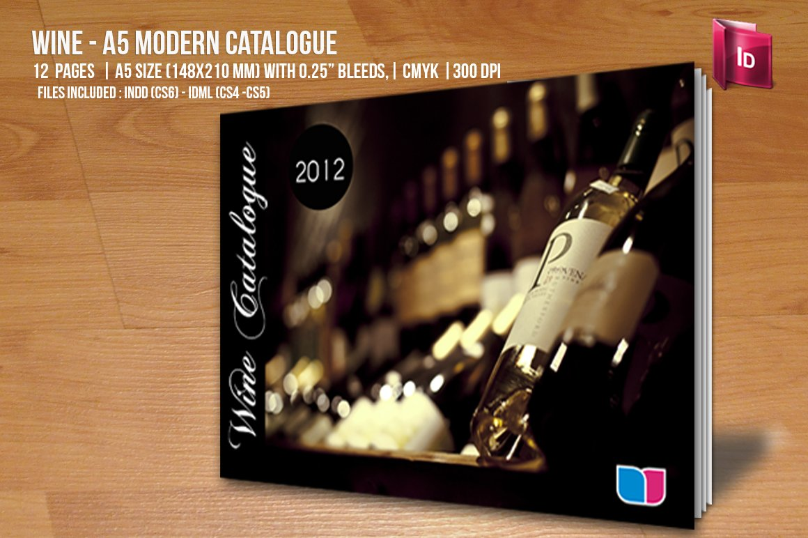 Wine a5 modern catalogue brochure templates creative for Wine brochure template free