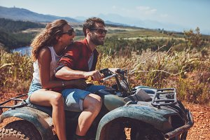 Couple having fun on an off road