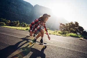 Man longboarding outdoors