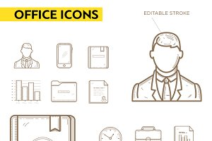 Line icons set of office appliances