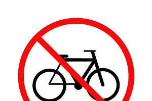 No cycling, bicycle forbidden sign