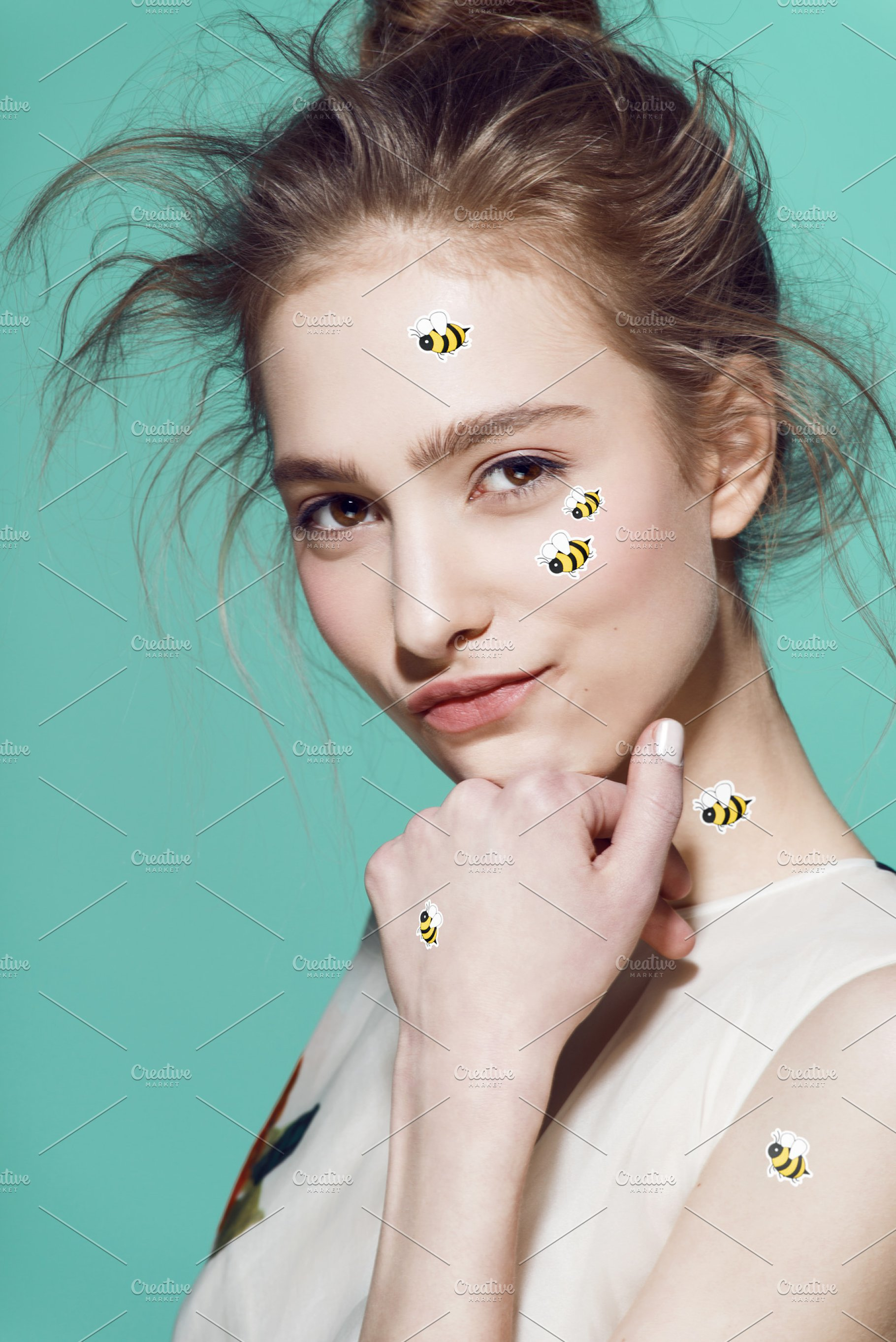 Funny make-up professional style for yong fashion model  Sticker on face