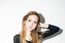 hipster girl posing on white background