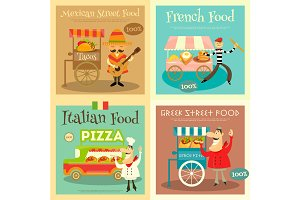 Street Food Festival Posters Set