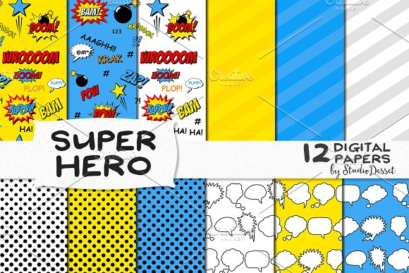 Super Hero Digital Papers Graphic Patterns Creative Market Enchanting Hero Patterns