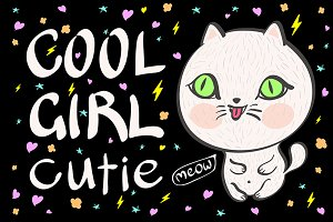 cool girl cutie meow vector cat
