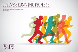 Business running vector set