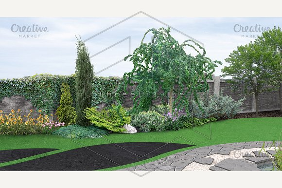 Landscaping planting of greenery