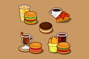 Cartoon fast food set