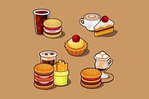 Cartoon fast food set