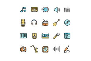 Music Icon Set Color. Vector