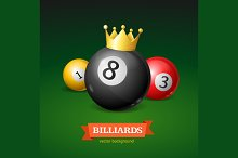 Billiard Balls with Golden Crown
