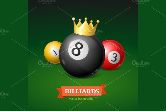 Billiard Balls with Golden Crown