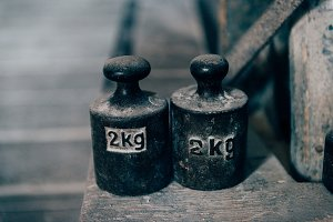 Food weights, old-fashioned, vintage