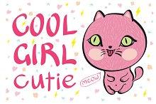 cool girl cutie meow vector cat pink