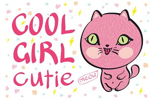 cool girl cutie meow vector cat pink