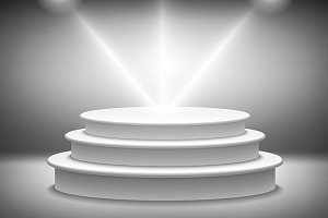 Round podium illuminated vector