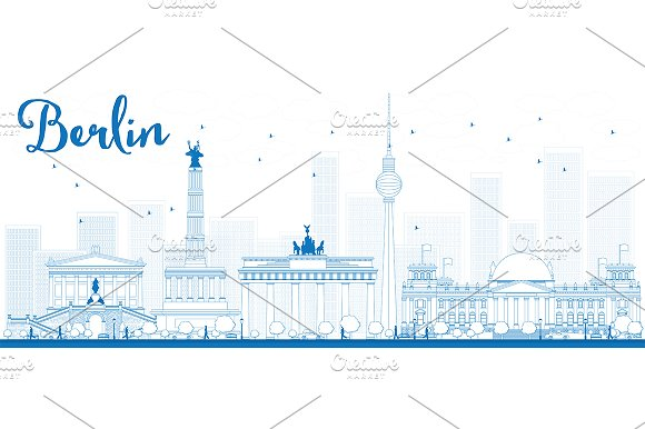 Outline Berlin City Skyline