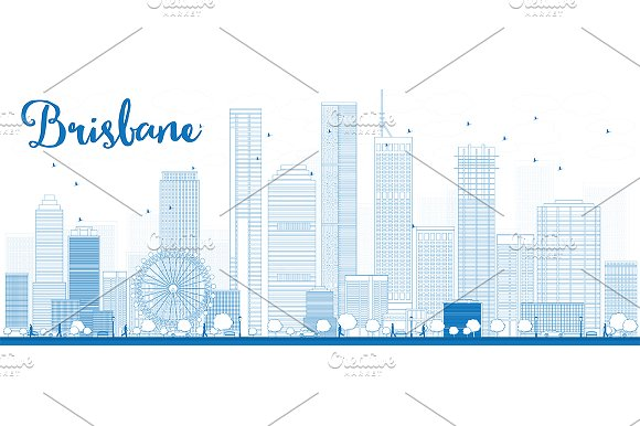 Outline Brisbane City Skyline